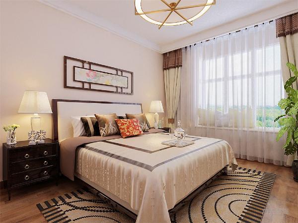 卧室背景墙选择中式的国画来装饰搭配墙壁的颜色相互呼应,既显得端庄又不失温馨