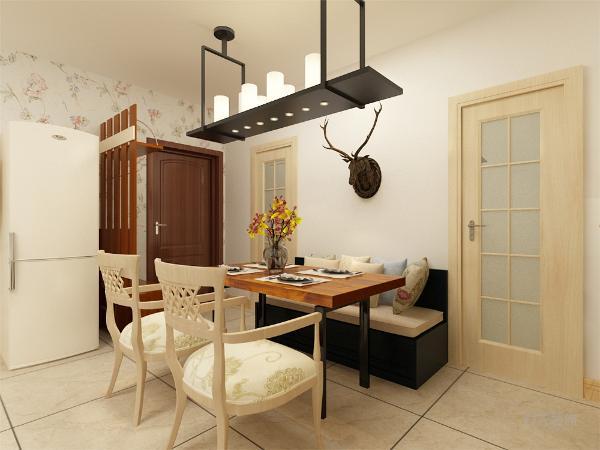 餐厅没有做过多的造型,简单的卡座与桌椅搭配,餐厅和客厅相呼应又不重复,餐桌放在入户门口卫生间与厨房中间