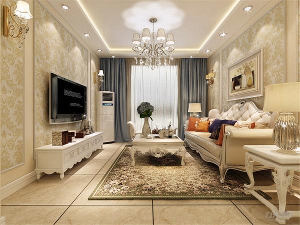 客厅的电视背景墙和沙发背景墙都是采用的石膏线圈边加一个欧式的壁纸,简单且不是品味,经济且性价比高。整个客厅的软装,色调和谐,明亮且比跳跃。