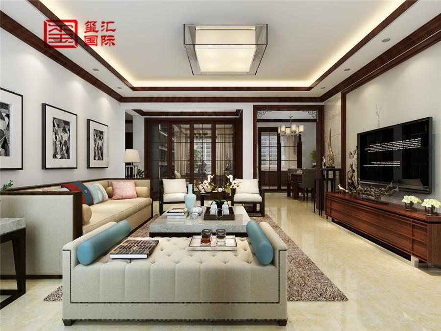 中式 三居 玺汇国际 新房装修 收纳 客厅图片来自河北玺汇国际装饰公司在160平卓达明郡中式风格的分享
