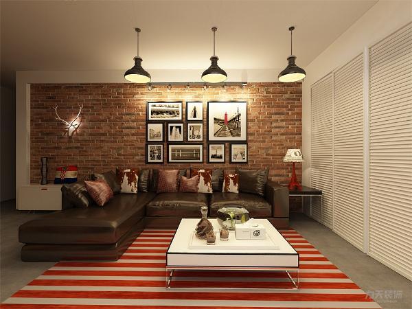 客厅电视背景墙采用保留灰色原墙的基础上增白色装饰板为底黑白色组合柜做装饰,不会显得空间太过于工业化而感到冷清,沙发背景墙则采用裸露的红色墙砖,增加风格性,沙发选用黑色皮质转交沙发
