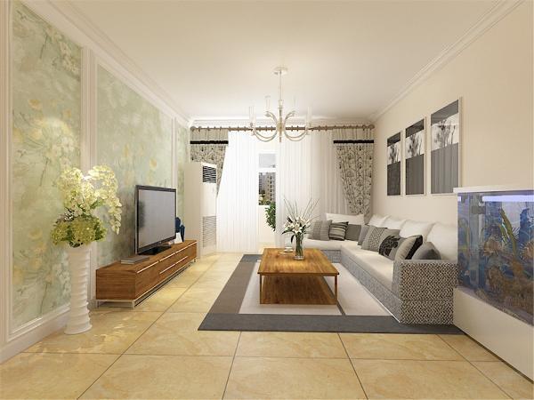 客餐厅的空间有限,太繁杂的家具造型会在视觉氛围上影响空间的大小。家具颜色以木质家具为主,搭配米黄色地砖,用浅蓝色窗帘和绿色的花点缀,使空间看起来即统一又不失单调。