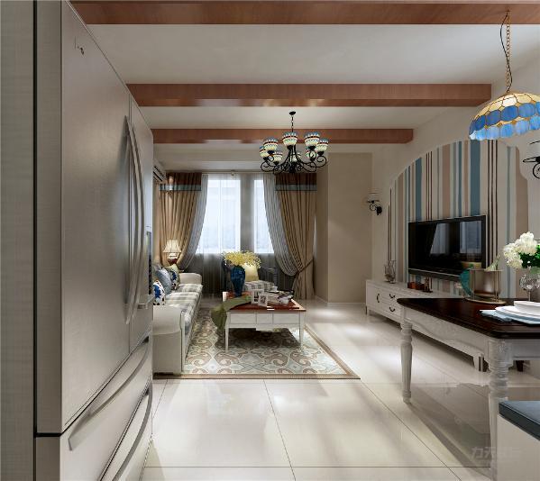 本方案从户型来看各个空间都安排的很规整,入户门开始,左侧为餐厅、客厅,地面采用复古砖平铺的方式。