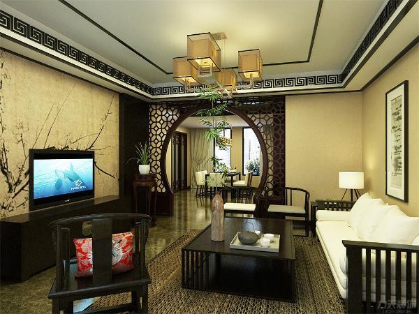 客厅空间讲究的是沉稳宁静的感觉,电视背景墙的彩绘与屏风的相呼应且更富层次感,营造出弄弄的中式气息,地面800*800的地砖更富于一种大气的感觉,彰显个人品位,