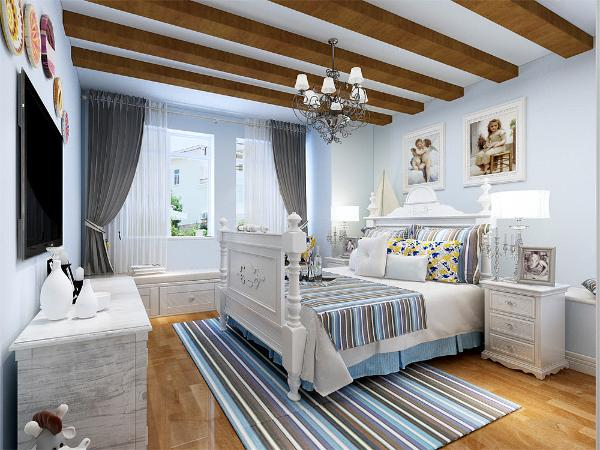 次卧地面也采用复合地板,墙面是乳胶漆,床头背景墙用美式挂画做装饰,方便收拾又很美观。