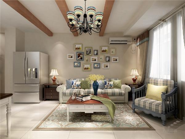 墙面采用浅黄色乳胶漆,运用假梁吊顶,突出空间的造型性。右侧为厨房,厨房的橱柜采用整体定制柜,使空间得到最大化的利用率。