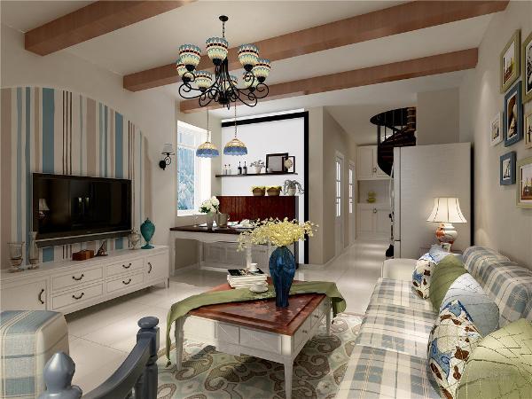 客餐厅整体空间配有浅色实木家具,电视背景墙用石膏板和壁纸做装饰,沙发背景用挂画做装饰。整体设计给人高档奢华,温馨舒适的感受。