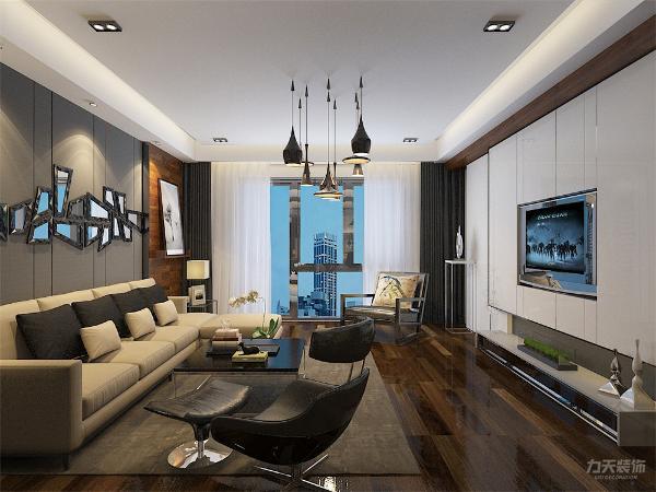 整体方案采用较为沉稳的黑白灰,多用白色为基调色,通过黑色与灰色来突出整体的一个关系。为了使室内有一定的层次感,选择用木地板来铺装。通过反射结构装饰线来拓宽视觉感及表现光与影的和谐。