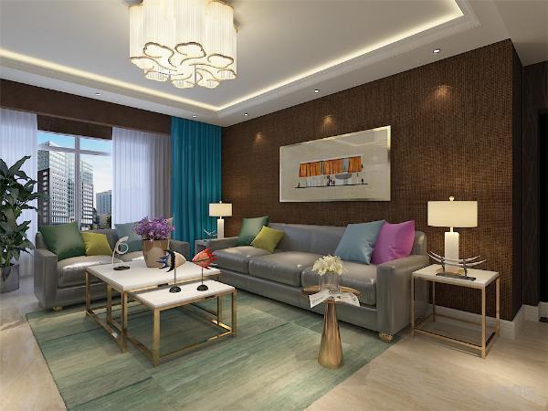 客厅皮质的沙发摆放不同颜色的抱枕,灰色的皮质沙发我选择了深褐色的麻布墙纸,电视背景墙择选择了其他材质的墙纸来搭配。整个房间大大的颜色以及材质的跳跃和使用彰显了屋主的品味和追求。