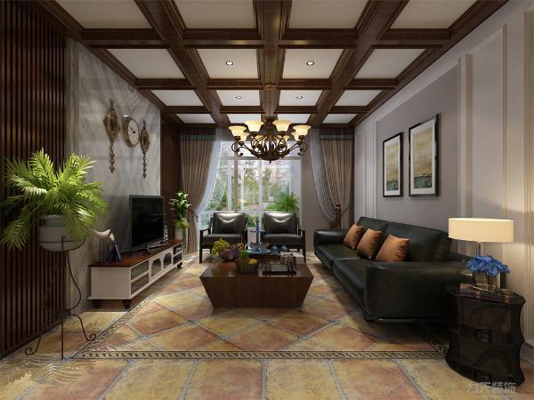 本案为美式风格,客厅的设计比较复杂,电视背景墙采用了石材和木线相结合做的造型,突显出了整个空间的大气,沙发背景墙做了简单的造型。