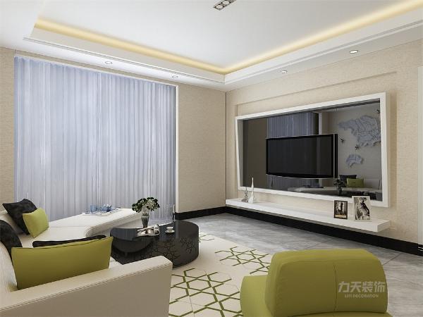 客厅电视背景墙采用了回形凹凸镶嵌,突出的墙檐可以阻挡窗外的光线干扰到到电视屏幕。使客厅空间极富层次感。其他墙面通铺卡其色乳壁纸。给人一种厚重感。