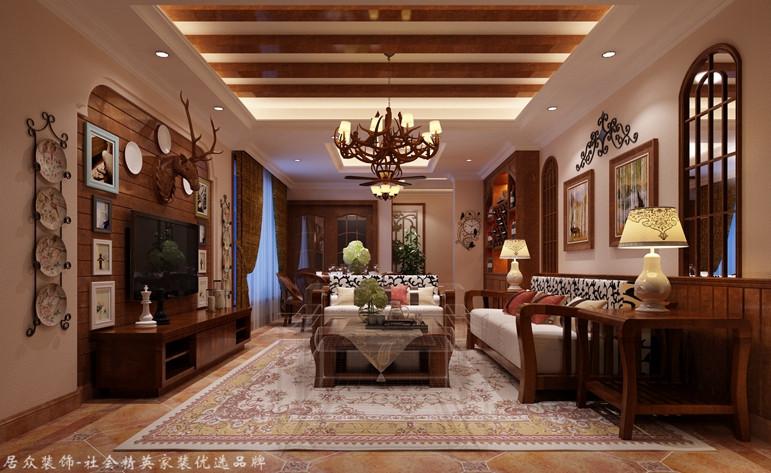 客厅图片来自昆明居众装饰设计工程有限公司在俊发湾流海-地中海风格-178㎡的分享