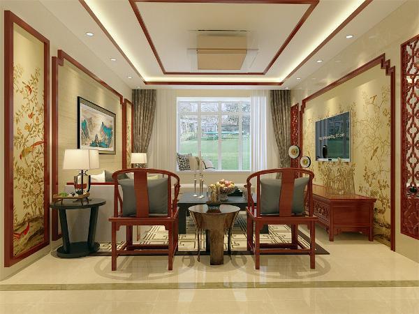 客餐厅区域墙面采用鹅黄色乳胶漆,电视背景墙和沙发背景墙均采用木线条进行装饰,体现中式气息,餐厅区域挂了四幅中国风的古画,彰显品位,餐厅选用了六人的餐桌,客餐厅的整体家具采用红木家具,增添古典气息。