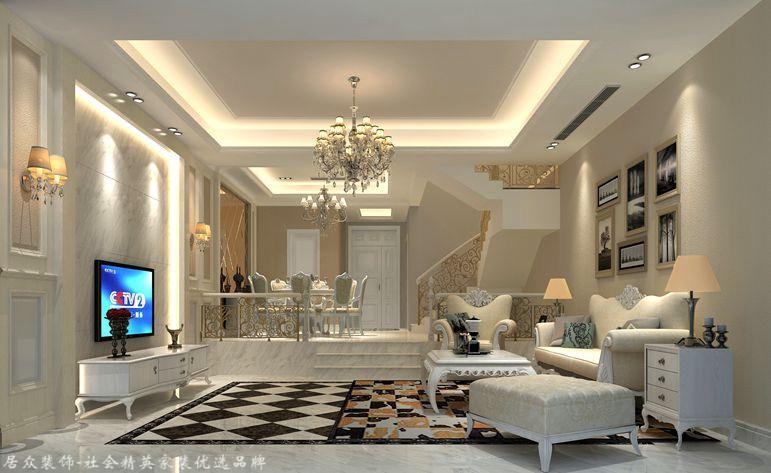 欧式 别墅 客厅图片来自合肥居众装饰设计工程有限公司在新华御湖庄园-欧式风格-320㎡的分享