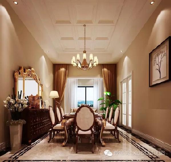 餐厅是用餐和沟通内外感情的空间。在结构上没有改动,主要把亮点用在配色及家  具的别致上,突出空间舒适度。旁边的餐边柜别具一格,吊顶与客厅吊顶相呼应。