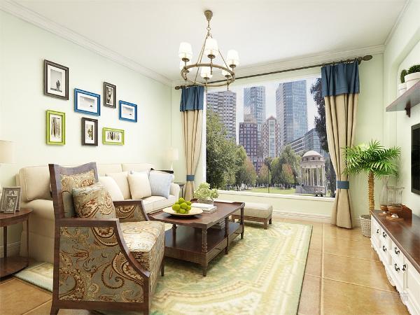 客厅的整体色调自然柔和,电视背景墙采用地中海的经典拱门造型,显示独特的浪漫色彩。木质的家具,独特的装饰。增添空间的层次感。