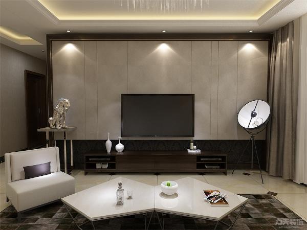 客厅的电视背景墙采用棕色包边,与周围的色彩产生对比,简单明快。沙发背景墙采用样式各异装饰画衬托出业主的独特品味,适合时下年轻人居住。