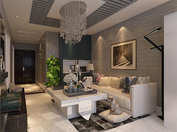 客厅是主人品位的象征,体现了主人的品格、地位,也是交友娱乐的场合。光能太强又不能太弱,灯光则已 温馨和暖的黄色为极调,顶部做了简单的吊顶