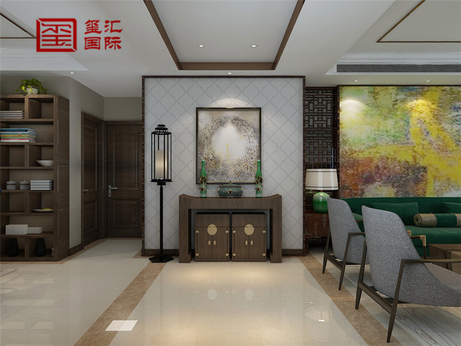 中式 三居 玺汇国际 80后 客厅图片来自河北玺汇国际装饰公司在158平盛世御城中式风格的分享