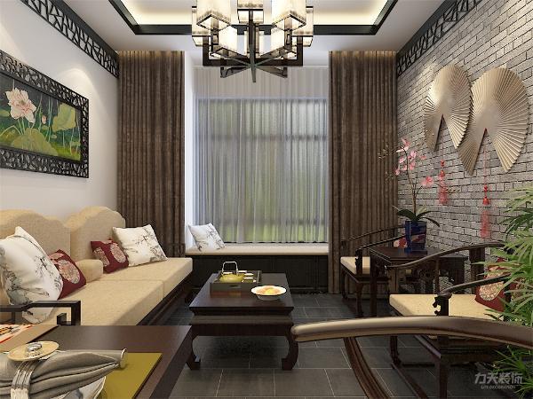 客厅中式沙发对面设置不同于大众化的电视墙,而是以文化墙装饰,摆放中式座椅,即可满足一家四口品茗、阅读、互相交楼,又可以接待访客。