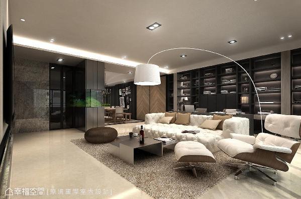 设计师邱郁雯在公领域以开放式规划,并将书房与客厅构筑为同一轴线,增添功能的复合与多元性,也放大空间尺度与视觉景深。 (此为3D合成示意图)