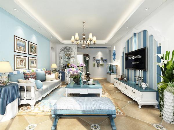 在本案的设计中,首先在整个装饰装修中客厅永远是比较着重表现的,在客厅电视背景墙的装饰上,充分展示了地中海设计理念。在电视墙的设计上,采用了自然的流线型造型墙,加上蓝色的壁纸,