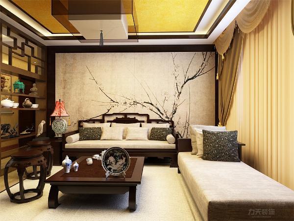 客厅主卧以沉稳的木调色为主,电视背景墙选用大面积水墨画和镜面为主,不仅使人视线得到扩展,放松,更是体现了在有限的空间里制造纵深感的设计理念