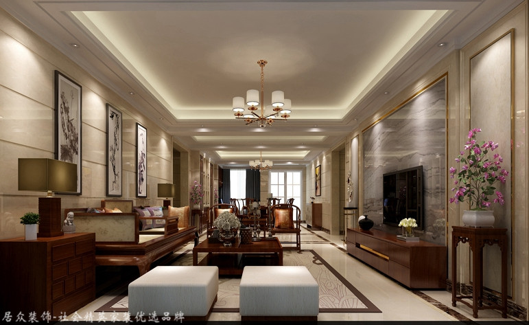中式 四居 白领 客厅图片来自杭州居众装饰集团设计院在郁金香岸-中式风格-290平的分享