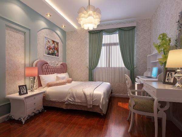 次卧作为儿童房来设计,小女孩比较喜欢浪漫的公主风。选择新古典风的家具,粉色的床头软包,清新浪漫的色系搭配。空间活泼,梦幻。花瓣的吊灯,床头墙面浅绿色的护墙板造型,将公主风梦幻演绎。