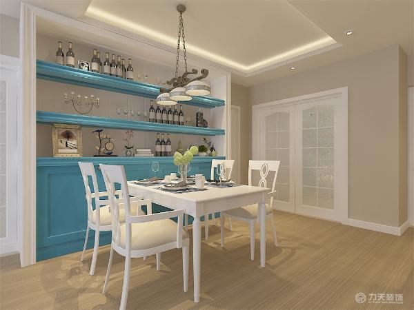 餐厅的一个区域,是整体的一个活动区域餐厅的位置距离厨房近,既合理的规划空间又便业主节省用餐的时间,整体墙面做了酒柜和餐桌和谐搭配完美统一有格调。