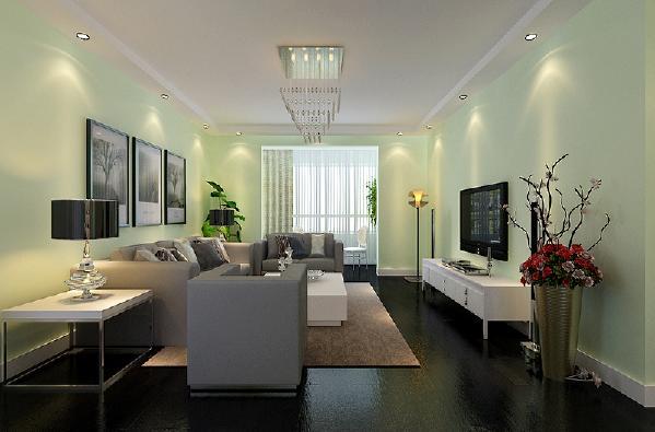 此户型南北通透,采光良好,在设计上客厅采用极其简单的造型顶,筒灯的使用使墙面和墙上的挂画更有立体效果,深色的地板给人以沉稳的感觉,青绿色的墙面又给人清新,干净的感觉。
