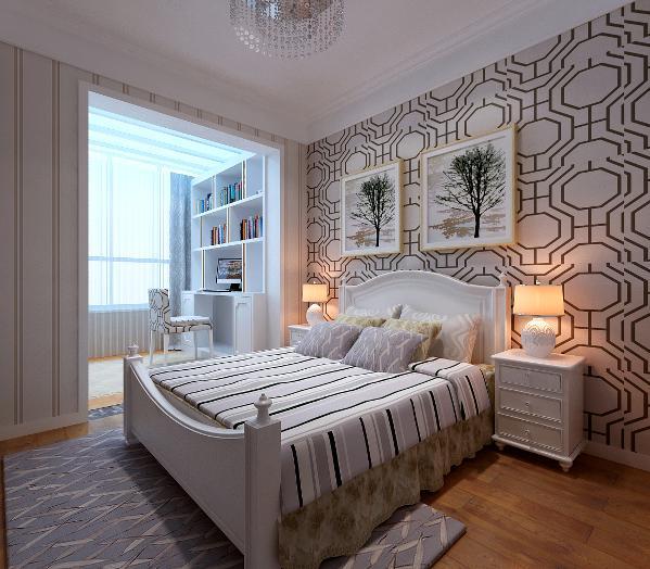 次卧室阳台书房的利用开阔的居住空间的功能,浅色系的色调提升了空间的视界,色彩明快亮丽。