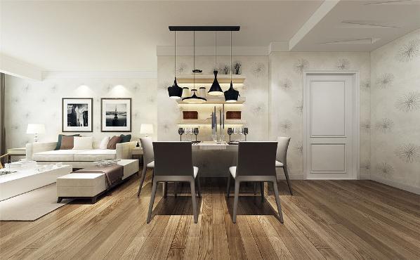 餐厅的设计中,在墙面上搭配了三个挡板,进行摆放物体。在沙发背景墙上,没有做过多的装饰,为了强调一种现代简约的感觉,只是挂了画