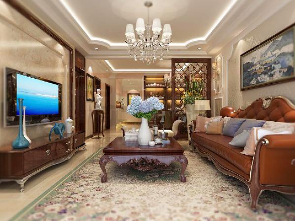 电视墙采用暖色系墙纸,同时采用极具欧式风格的太阳线加以修饰,使人倍感温馨。
