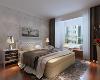 主卧空间飘窗的利用增加了卧室空间的舒适度,颜色适度的地板加深空间的档次