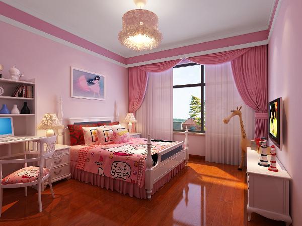 次卧色彩明亮儿童的趣味强烈,粉色的大量运用,白色的搭配,让居室空间趣味生动。