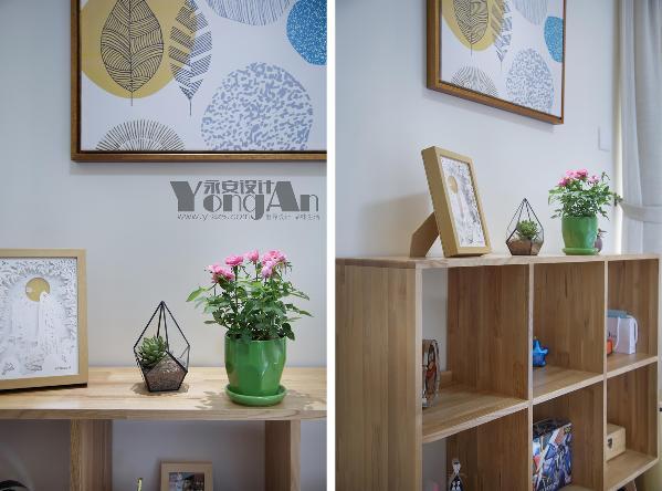 主卧小景:柜子可以摆放主人喜欢的小东西,实用又美观。
