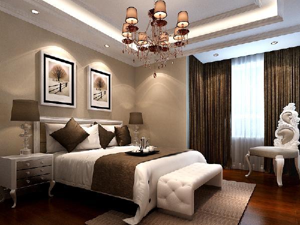 在整套方案中,主卧室也不失为一个亮点,以咖色和白色为主的基调,配上床头的装饰画和深色木地板,给人一种轻松,舒适恋家的感觉。