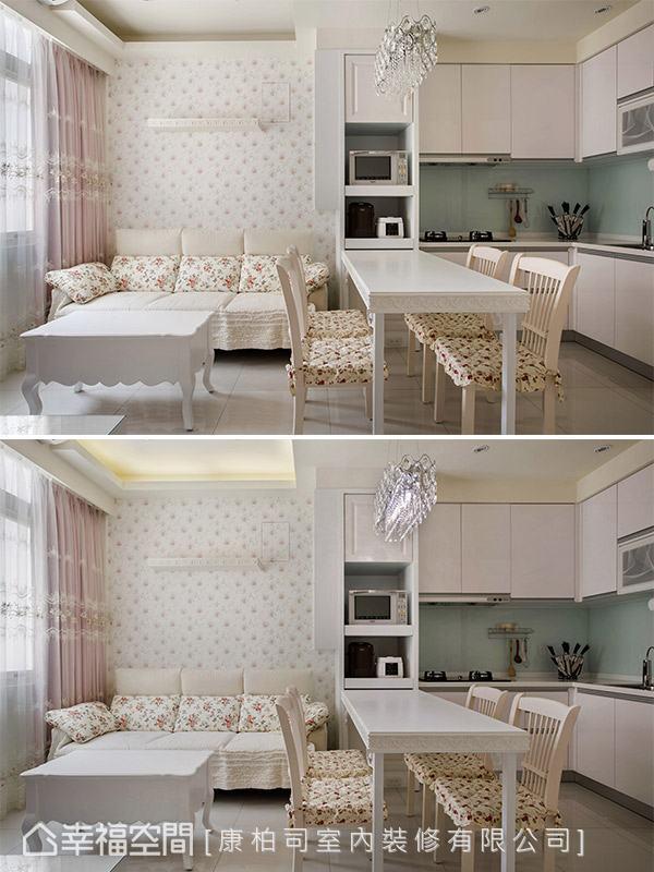 康柏司室内装修顺应屋高优势,在客厅上方加装间接照明,让空间感向上提升。