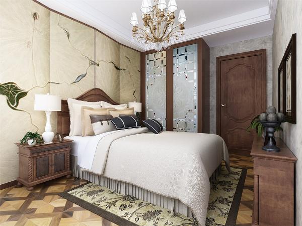 主卧室整个墙面也铺简洁壁纸,搭配蓝色竖条纹的床,显得格外好看。