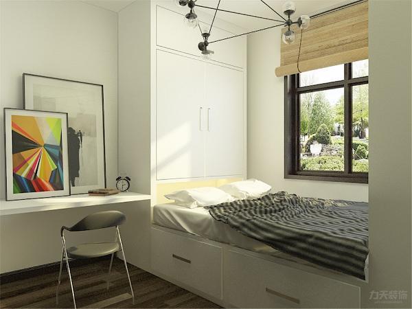 次卧是一个榻榻米的设计并柏油写字台,方便户主休息办公娱乐