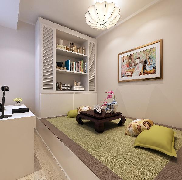 榻榻米的设计考虑了多方面,一是为了方便如果家里有客人可作为一个临时的卧房,给客人临时休息。二来主人比较喜欢边喝茶边看书这个区域就满足了房子主人的这个需求。