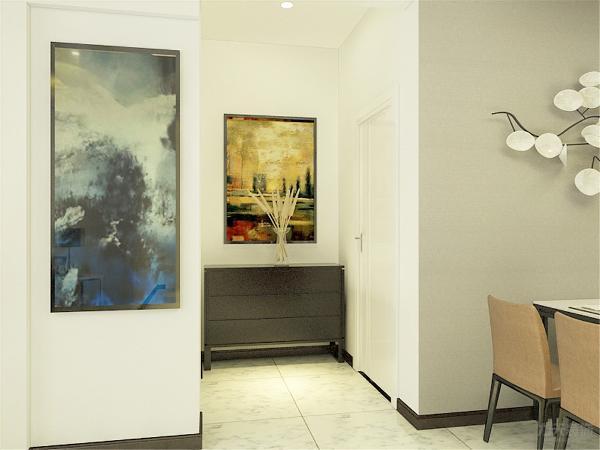 玄关处有油画的摆设给单调的玄关空间增添了一些新鲜的生气