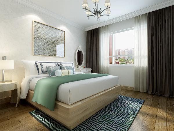 卧室位置以白色暗纹壁纸粘贴,增加空间视觉效果。次卧以代表居住者性格色彩的蓝色表现,清晰明白。