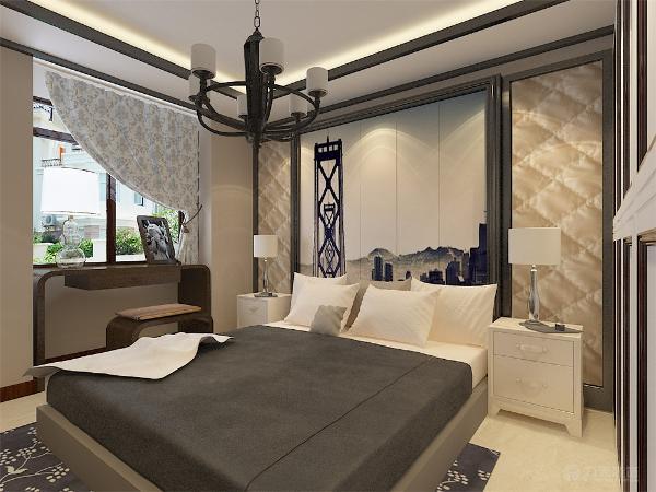 卧室营造了完美的休闲氛围,放松身心,卧室背景墙采用了整面装饰画造型,让业主得到充分的放松。
