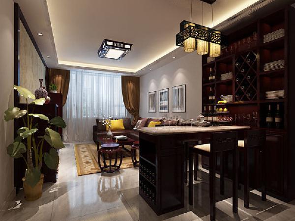 客厅空间不是很大,沙发摆放好后餐厅显得格外拥挤,大胆的把餐桌设计成吧台形式,既能解决用餐问题又能提升一下生活品质,为此规划中增添了酒柜,平时女主人也能够在闲暇时间品一品红酒。