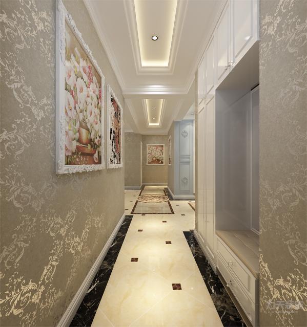 玄关处整体也要壁纸的铺贴和壁画的悬挂给狭长的玄关增添欧式气氛