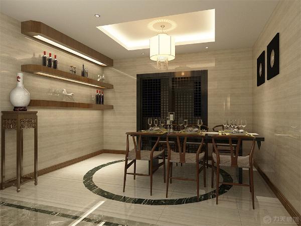 地面做波打线划分功能区域,餐厅墙面大理石上墙。