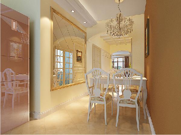 餐厅区域,配以软装壁画和装饰镜,能更大的放大空间,设计手法比较新颖,厨房设计成开放式的,右侧位置可以放入双开门的冰箱,洗衣机也是嵌入厨房的台面下面,这样巧妙利用空间