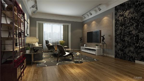 客厅的设计中,没有采用鲜艳的亮色,整体的色调较为低沉, 偏灰色系列,在地板的设计中采用微微亮色,来使整个空间没有没有昏暗,在电视背景墙上没有采用过多的造型